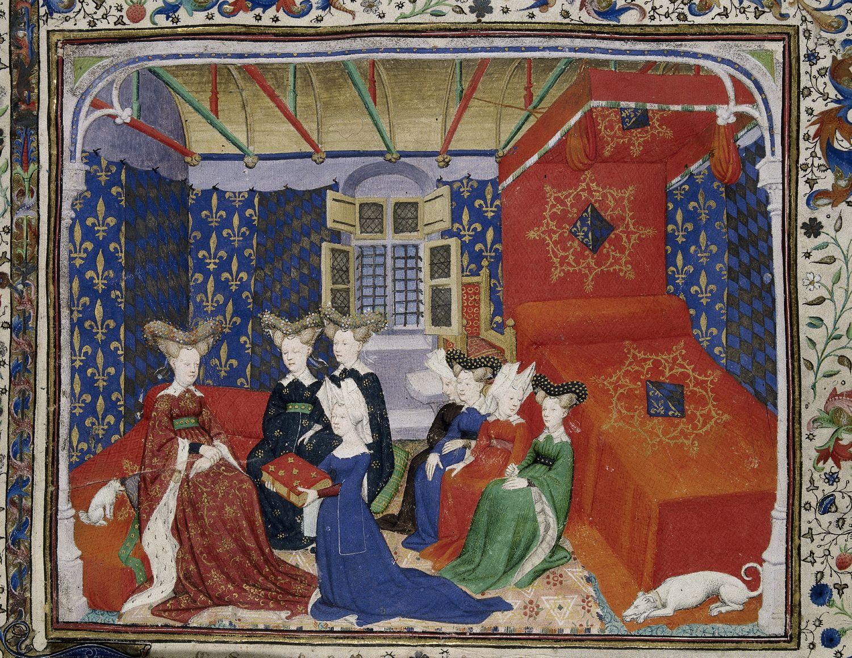 Christine de Pisan presenterar sin bok för drottning Isabeau of Bavaria. Bildkälla: Wikimedia Commons