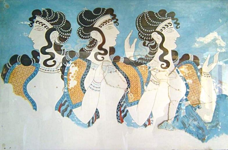Kvinnor från Mykene porträtterade i palatset på Knosses. Den minoiska kulturen (som präglade Mykene) sägs vara fredlig och matriarkal. Bildkälla: Wikimedia Commons