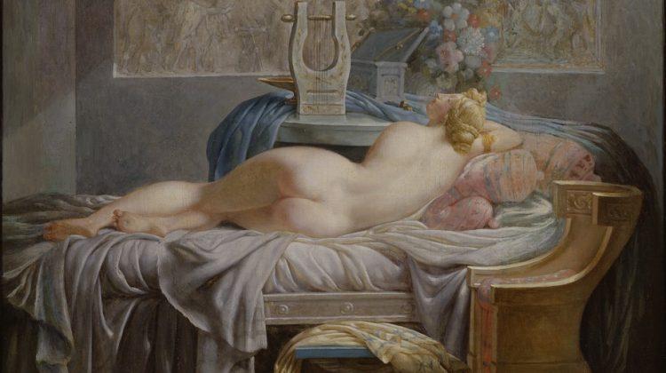 Jean-Baptiste Regnault har porträtterat Sapho, en av Antikens intressanta kvinnliga diktare. Bildkälla: Wikimedia Commons